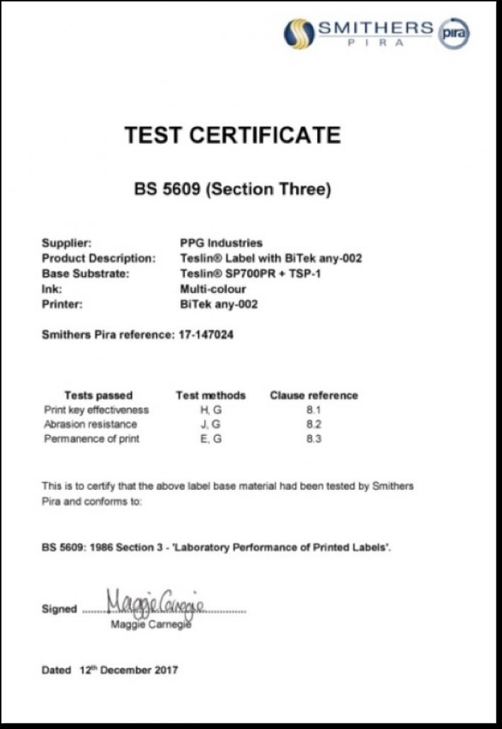 BS5609 certificate